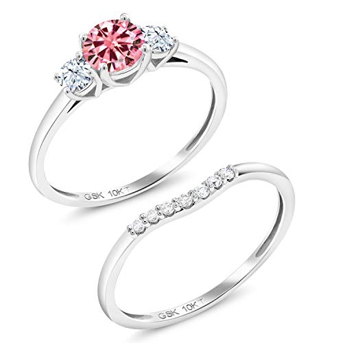 Gem Stone King 10K White Gold 3-Stone Bridal Engagement Wedding Ring Set Round Pink Created Moissanite and Created Sapphire White 0.50ct (DEW) (Size 9) (Pink Bridal Sets Wedding Rings)