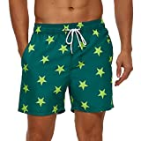 SILKWORLD Men's Quick Dry Swimming Trunks with Mesh Lining Bathing Suit Sports Shorts, Yellow Star/Green, X-Large