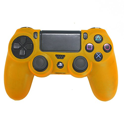 HDE PS4 Controller Skin Silicone Rubber Protective Grip for Sony Playstation 4 Wireless Dualshock Game Controllers (Orange)
