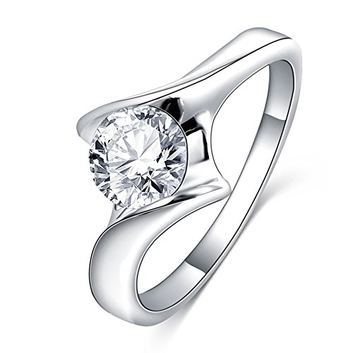 LuckyWeng New Exquisite Fashion Jewelry Platinum Simple Austrian Crystal Diamond Ring