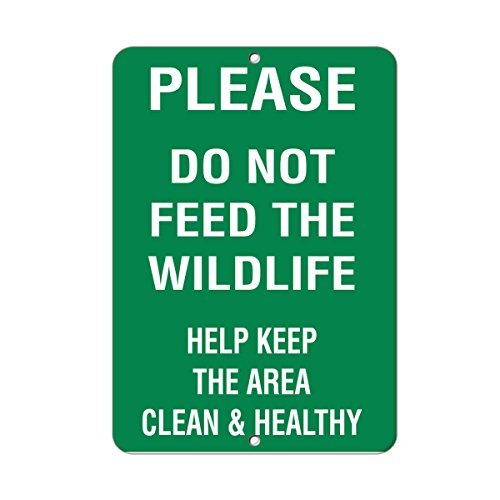 Sign Tin Feed Store (VictorJoan Please Do Not Feed Wildlife Keep Clean & Healthy Aluminum Metal Sign Tin Sign 12 in x 18 in)