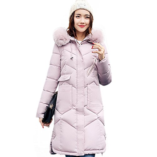 Larga Mujer Abrigo Rosa Manga Misschicy para xO0HE6