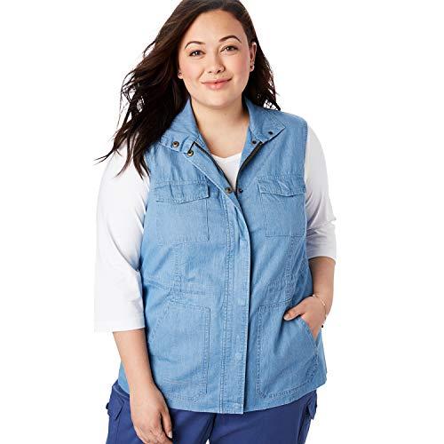 Woman Within Women's Plus Size Utility Vest - Bleach, 3X