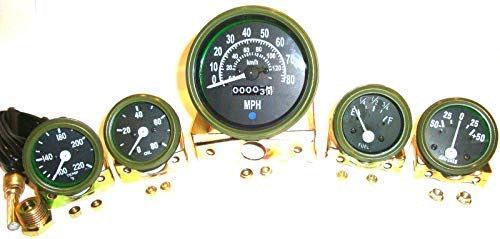 (12V Willys Jeep M38 1952 Gauges Kit with 0-80mph Speedometer - Olive Green Bezel )