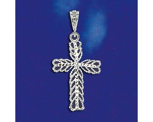 (Sterling Silver Cross Pendant Italian Filigree Hearts Charm Solid 925 Italy New Jewelry Making Supply Pendant Bracelet DIY Crafting by Wholesale Charms)