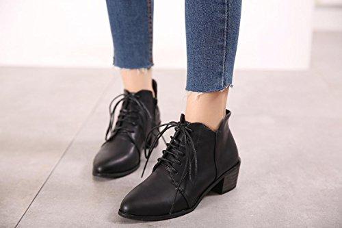 LvYuan-mxx Las mujeres ponen en cortocircuito las botas / el invierno de la caída / el talón grueso punteó el dedo del pie retro / ata los cargadores de los cordones / la comodidad ocasional / la ofic BLACK-35