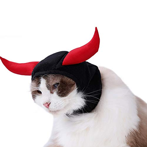 Delifur Little Devil Cat Hat Bull Cat Costume Croissant for Halloween Two Red Ox Horn Design