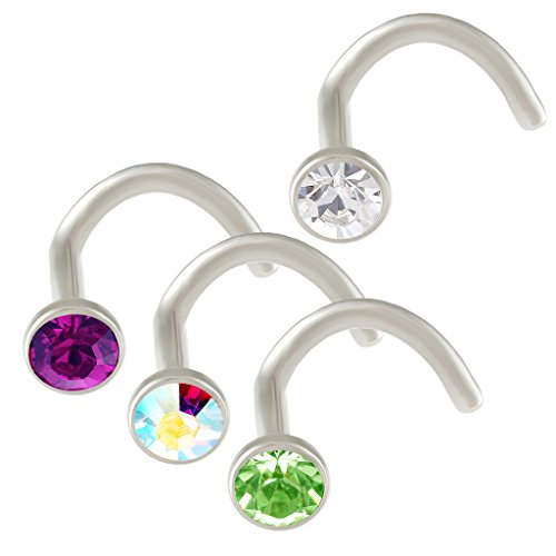 (bodyjewellery 18g Nose Screw Piercing Stainless Steel Hook Bent Nostril Rings Crystals Mixed Clear Amethyst Aurora Borealis Peridot)