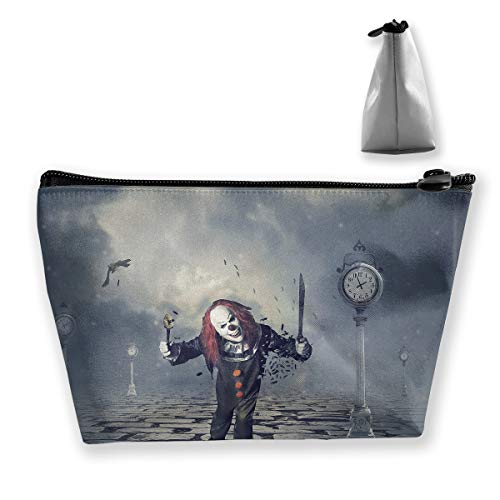 Makeup Bag Cosmetic Clowns Horror Abstract Portable Cosmetic Bag Mobile Trapezoidal Storage Bag Travel Bags with Zipper -