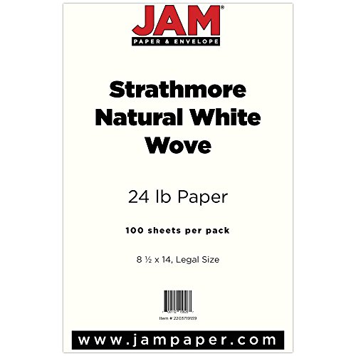 "JAM Paper Strathmore Legal Paper - 8.5"" x 14"" - 24lb Natural White Wove - 100 Sheets/pack"