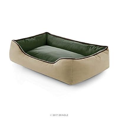 BRINDLE Waterproof Bolster Dog Bed with Reversible Color Design - Durable Indoor or Outdoor Pet Bed - Machine Washable - Soft Fiber Filled - Medium