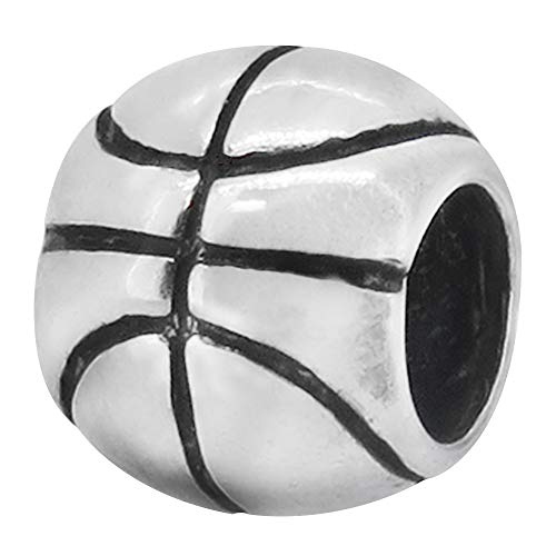Zable Sterling Silver Basketball Bead Charm (9 X 8 mm)