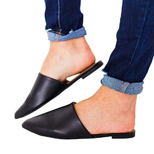 FISACE Womens Black Backless Slip On Pointed Toe Flat Sandals Low Heel Mule Dress Loafer Slide Slipper Shoes