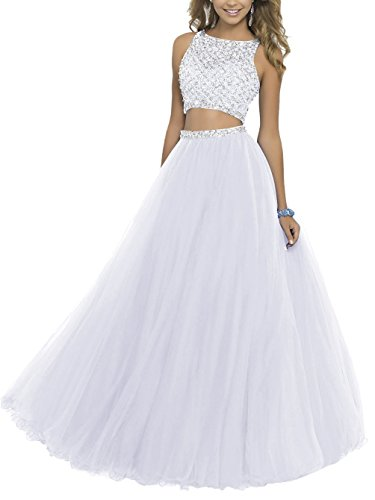 Two Pieces Prom Homecoming Dresses Jeweled Puffy Tulle Long Pageant Quinceanera Ball Gown 015 White