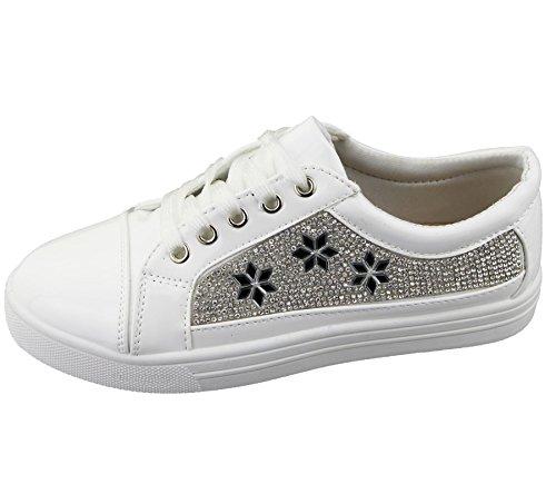 Womens Sneakers Flat Pumps Ladies Diamante Summer Plimsole Loafer Shoes White EfIBDLyNLO