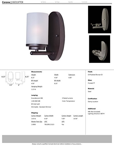 Maxim 10211FTOI Corona 1-Light Wall Sconce, Oil Rubbed Bronze Finish, Frosted Glass, MB Incandescent Incandescent Bulb , 100W Max., Dry Safety Rating, Standard Dimmable, Glass Shade Material, 3450 Rated Lumens by Maxim Lighting (Image #1)