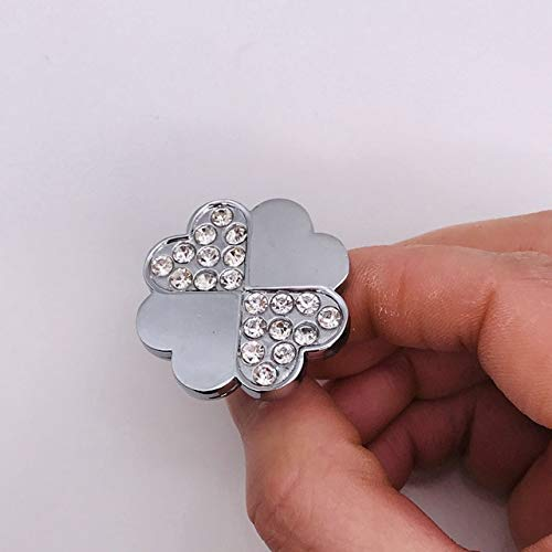 Chrome Furniture Knobs Luxury Diamond Crystal Cabinet Drawer Pull Wardrobe Beech Star Heart Square Door Knobs Cupboard Handles - (Color: Four-leaf clover) ()