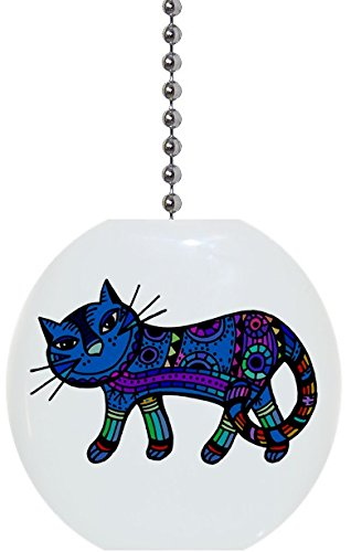 Blue Abstract Cat Solid Ceramic Fan Pull