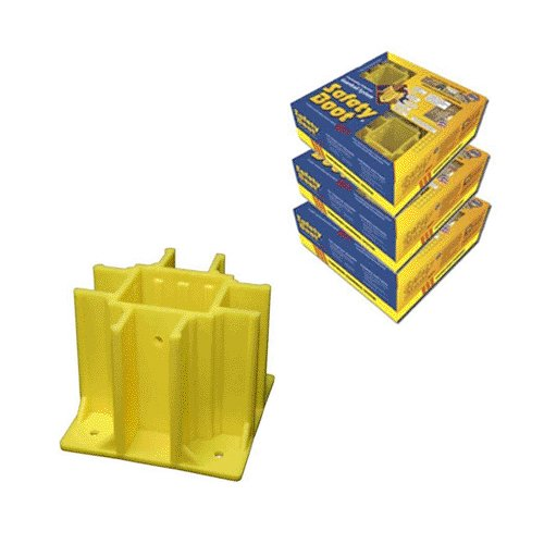 Safety Boot Yellow OSHA Compliant Guardrail Base with Toeboard Slots (Case of 12) (Safety Boot Yellow Osha Compliant Guardrail Base)