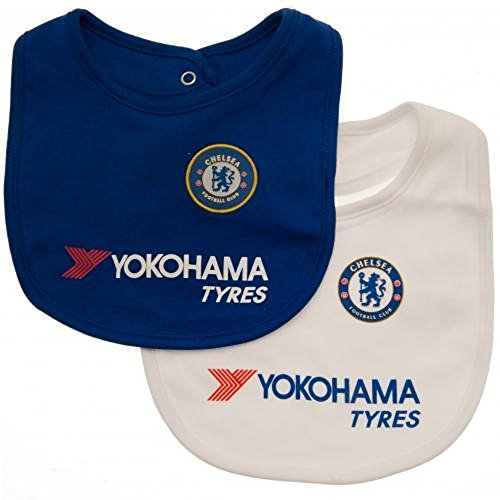 Chelsea FC Bibs - Set of 2 - Bibs feature Chelsea team colors and crest -  One Bib is Blue, One Bib is White