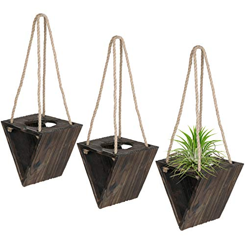 Rustic Triangle Wood Hanging Planter, Air Plants Holder with Jute Rope, Set of 3