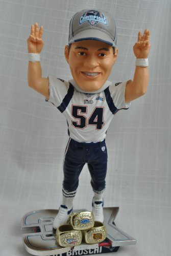Tedi Bruschi #54 New England Patriots 3 time ring Super Bowl championship bobblehead statue by forever