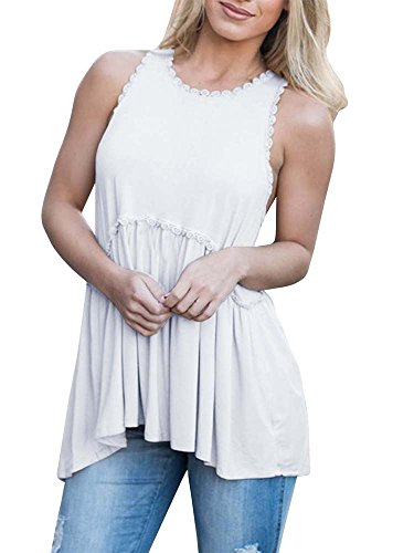Baby Doll Tunic Tank - Imily Bela Womens Empire Waist Sleeveless Tunic Shirt Trimmed Racerback Ruffle Tank Tops White