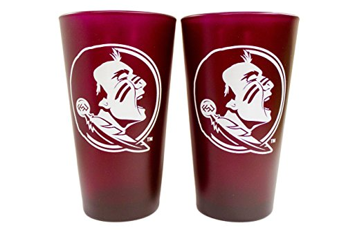 NCAA Florida State Seminoles 16oz Color Frosted Glass Pint 2 Pack (Glass Frosted Stein)