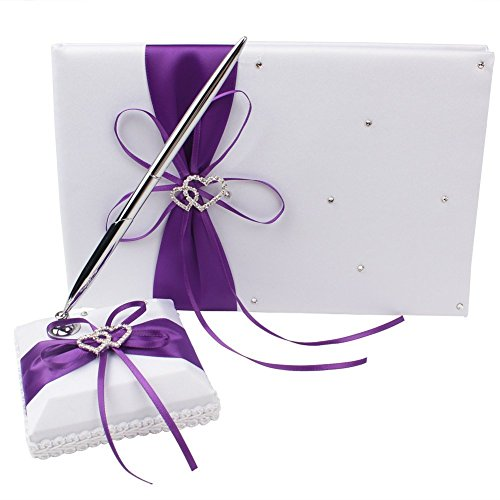 Wedding Guest Book and Pen Set Purple with Double Heart Rhinestone,Guest Book with Pen for Birthday, Baby Shower, Party Favor
