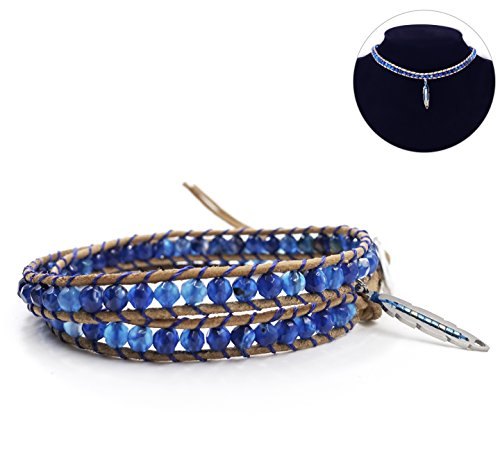 Choker Leather Bracelet (2 Wrap Leather Bracelet Leaf Choker Necklace - Blue Star - Faceted Agate Beaded Stainless Steel Button)