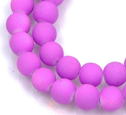 8mm Matte Frosted Neon Rubberized Glass Round Beads - Lavender/Orchid 16