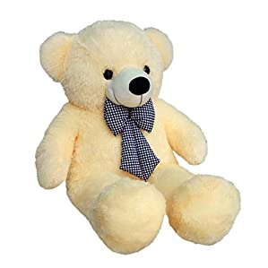 Zitto 3 Feet Huggable Teddy Bear with Neck Bow, Beige