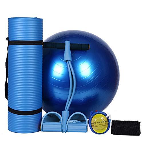 YOOMAT Yoga-Set von 4pcs 10mm Rutschfeste Yoga-Matten für Fitness-Sport-Pilates-Übungsmatten + 65cm Yoga-Fitness-Bälle + Fuß-elastisches Zugseil