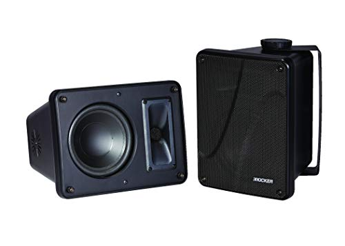 Kicker KB6000 2-Way Full Range Indoor Outdoor Marine Speakers (Pair) | Weatherproof Patio, Sunroom, Garage, Poolside, In-Home | 6.5 inch woofer, 2x5 inch horn tweeter | Quick Mounting System Included ()