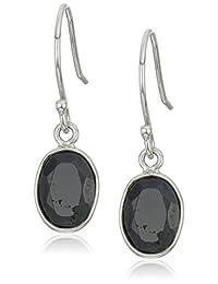 Black Sapphire Oval Dangle Earrings