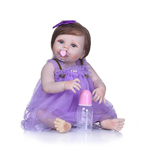 Purple Girl 23inch Baby Doll Silicone Sleeping NPK Reborn Bathing Kids Girls Collection Body Collectible Dolls Dress Full 57cm Toy Toddler f14y7RPqy