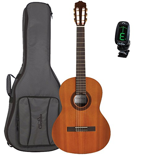 Cordoba Dolce 7/8 Scale Acoustic Nylon String Classical Guitar with Deluxe Gig Bag and Tuner -
