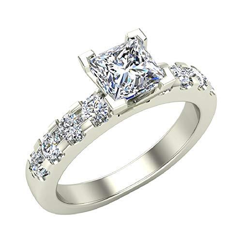 1.25 Carat Princess Cut 14K White Gold Solitaire Diamond Engagement Ring 0.75 ct J-K Color I1 Clarity -Diamond (Ring Size 4.5)