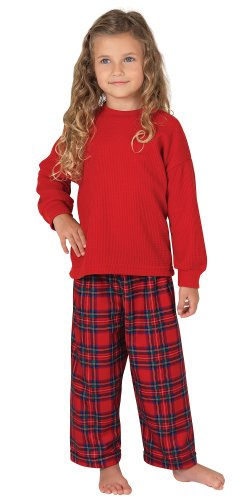 Red Cotton Flannel Stewart Plaid Matching Pajamas for the Whole Family, Women's Large / 12-14
