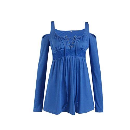 Coversolate Mujer Manga larga Suelto Blusa Casual Tops Azul claro