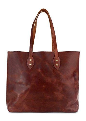 Vintage Leather Tote Bag by Jackson Wayne (Vintage Brown) by Jackson Wayne