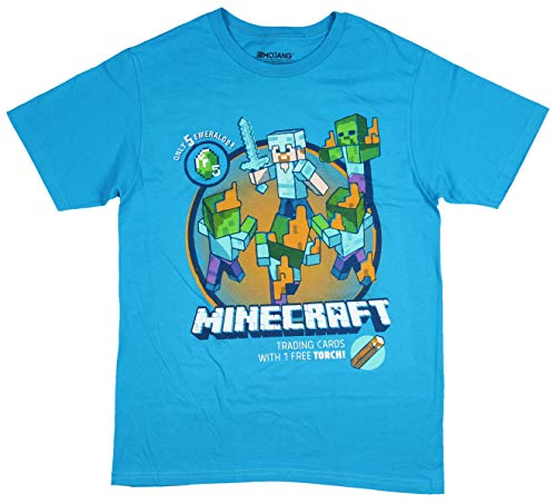 Minecraft Shirt for Boys with Steve Battling Zombies (Large 10-12) -