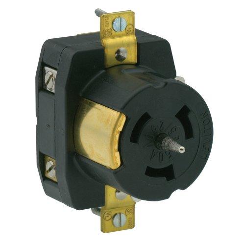 Flush 250v Mount (Leviton CS6369 50 Amp, 125/250 Volt AC, Black & White Locking Flush Mount Receptacle, Industrial Grade, Grounding, California-Style, Black)