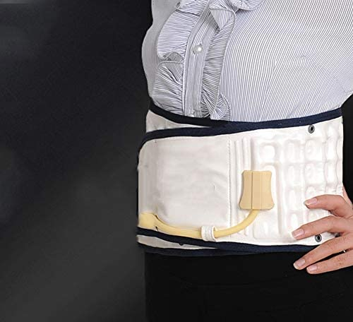 腰椎牽引装置腰椎椎間板椎間板インフレータブルベルトウエスト痛みマッサージベルト (Color : White, Size : S)