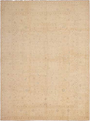 eCarpet Gallery Large Area Rug for Living Room, Bedroom | Hand-Knotted Wool Rug | Peshawar Oushak Bordered Ivory Rug 10'0
