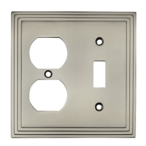Cosmas 25068-SN Satin Nickel Single Toggle/Duplex Combo Electrical Outlet Wall Plate/Cover ()