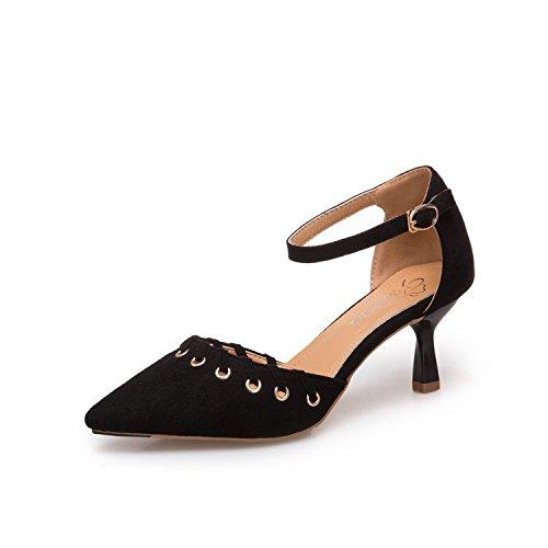 Delgado de y Baotou Verano y Mujer Cinco alfiler Puntiagudo con Sandalias Treinta Moda un Zapatos de Negro qXZvx