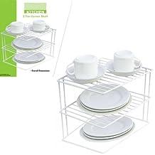2 Tier Corner Kitchen Shelf Cabinet Pantry Rack Organizer Dishes Storage Space !