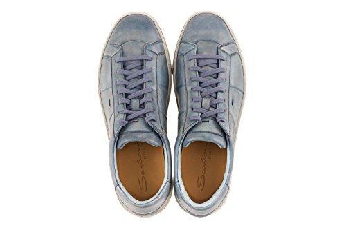 Scarpe Da Uomo Di Santoni Sneaker In Pelle Blu Antico