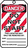 Accuform MLT403LTM HS-LAMINATE Lockout Tag, Legend''DANGER Do Not Start'', 5.75'' Length x 3.25'' Width x 0.024'' Thickness, Red/Black on White (Pack of 5)